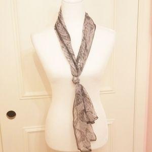 COACH metallic silk black & grey scarf